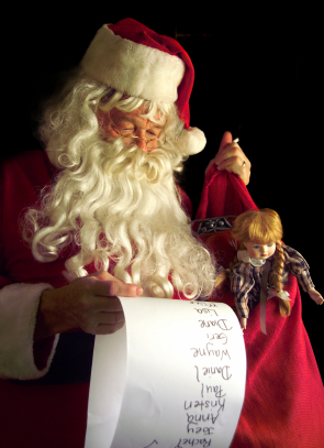 Santa looking at list