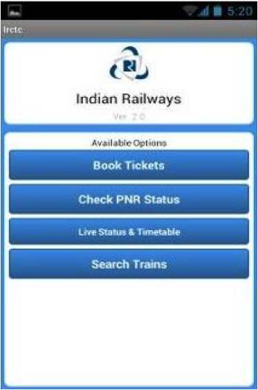 Indian railways mobile app