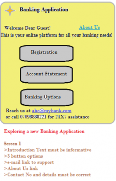 Banking app welcome screen