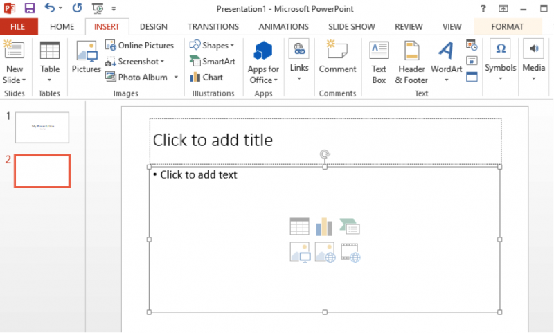 Adding a new slide in PowerPoint