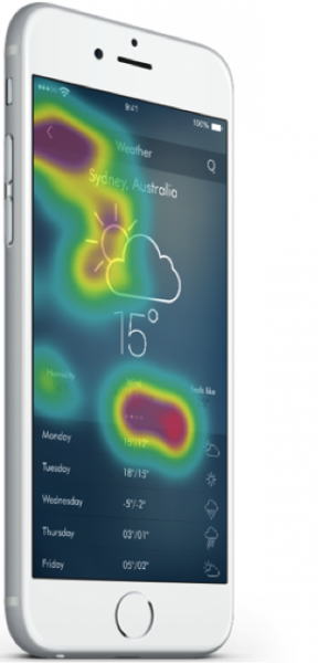Touch heat map over a weather app, by Appsee