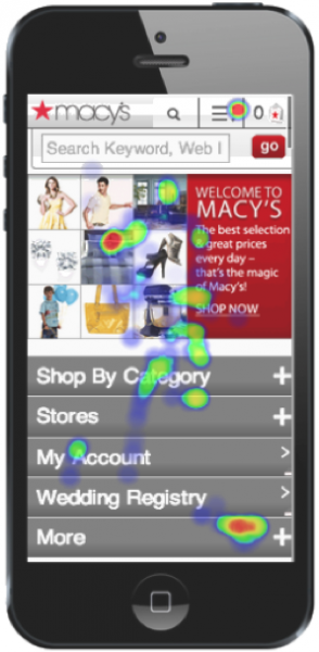 Touch heat map over a shopping app, by HeatData
