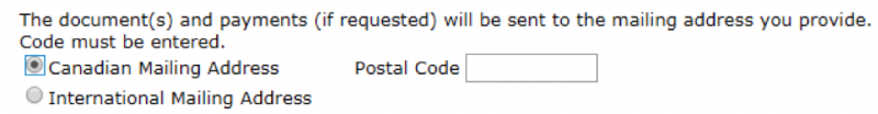A fragment of an input form asking for a postal code without specifying the required format