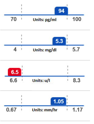 Blood tests results depicted on a color-coded sliding scale