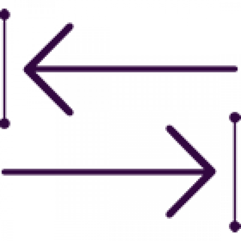 Icon showing one end to another